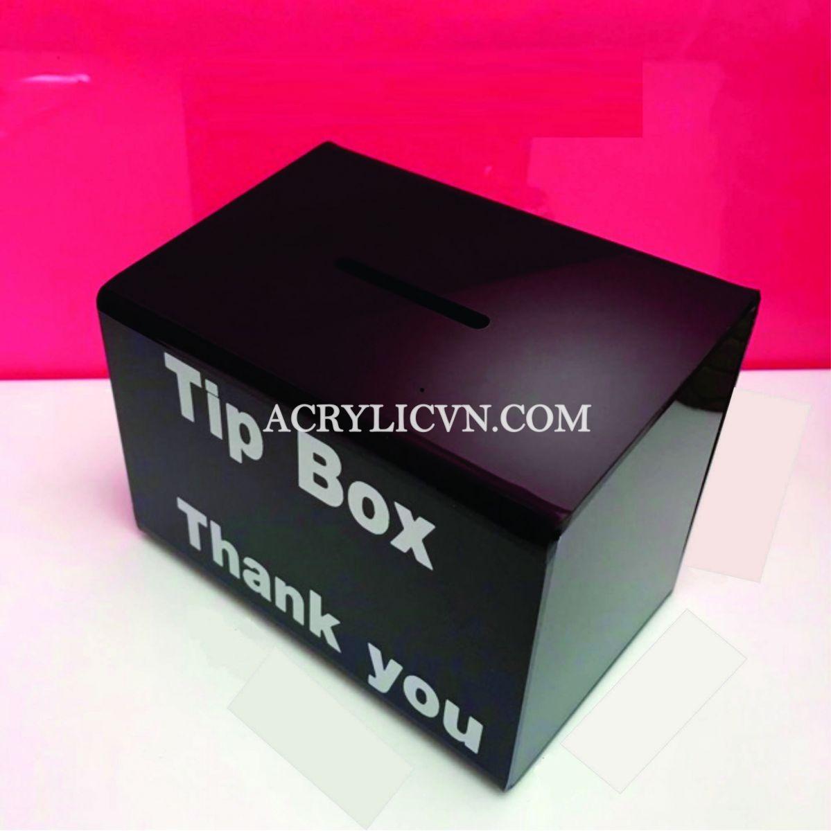 Hộp đựng tiền tip mica - thùng dựng tiền mica -  Hộp mica tipbox